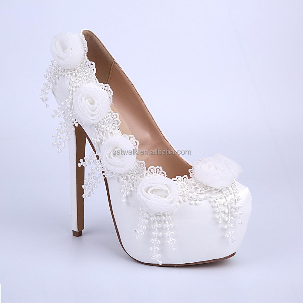 White Color Wholesale Women Dress Shoes Bride Wedding Dress Shoes ...