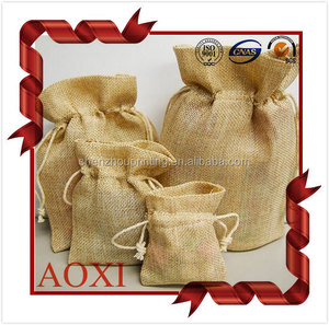 Good quality custom jute gift small burlap drawstring bags, seeds gunny bag, handled small burlap drawstring bag with lining