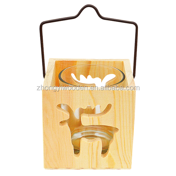 hot selling FSC&SA8000 tall wooden glass cup pillar candle gift holder for wedding decorating