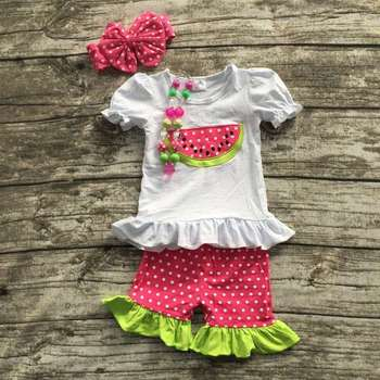 3d3cbd193 baby Girls Summer clothes girls boutique clothing girls watermelon outfits  polka dot ruffle shorts sets with