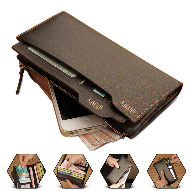 a0bfcd685555 Business Men Genuine Leather Long Bifold Wallet Pabojoe Fashion Purse  Carteira Card Cash Receipt Holder Organizer High Quality
