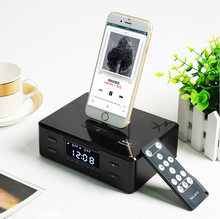 Hotel Jam Alarm FM Radio S-D9 <span class=keywords><strong>Speaker</strong></span> gigi Biru Remote Control Charger <span class=keywords><strong>Docking</strong></span> Music Player Untuk iOS <span class=keywords><strong>Android</strong></span>