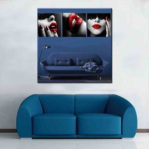 3 Pieces Modern Sexy Lips Painting Home Goods Wall Art Painting Wall Pictures Home Decor Wall Decoration Painting on Canvas
