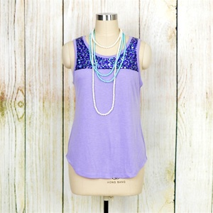 Women Sequined Slicing Tank Tops