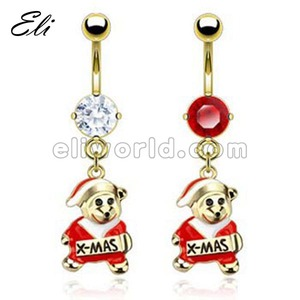 Fashion style belly navel button rings with christmas pet logo dangle piercing body jewelry