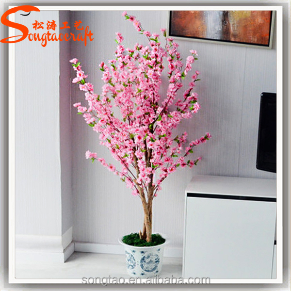 Large Outdoor Plastic Fake Bonsai Trees Plant Artificial Cherry Blossom Tree Decoration For Home