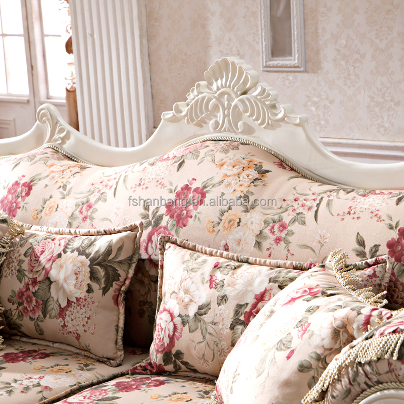 Royal French Provincial Fabric Upholstered Wooden Living Room Sofa Furniture