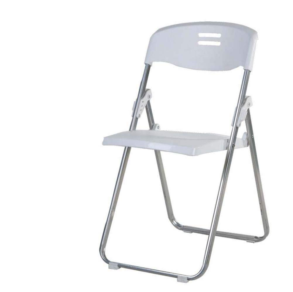 TTrar Portable Folding Chair Plastic Folding Chair Business Office Training Chair Conference Chair Exhibition Chair Back Chair,Desk Chair/Sliver Frame Convenient and Practical (Color : White)