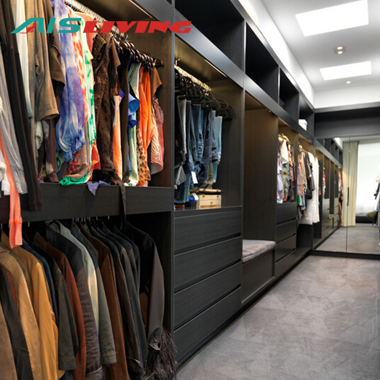 Simple melamine wooden walk in open wardrobe closets