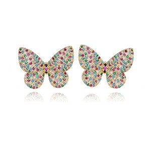 Colorful fashion gold butterfly earrings sample free, only charge shipping