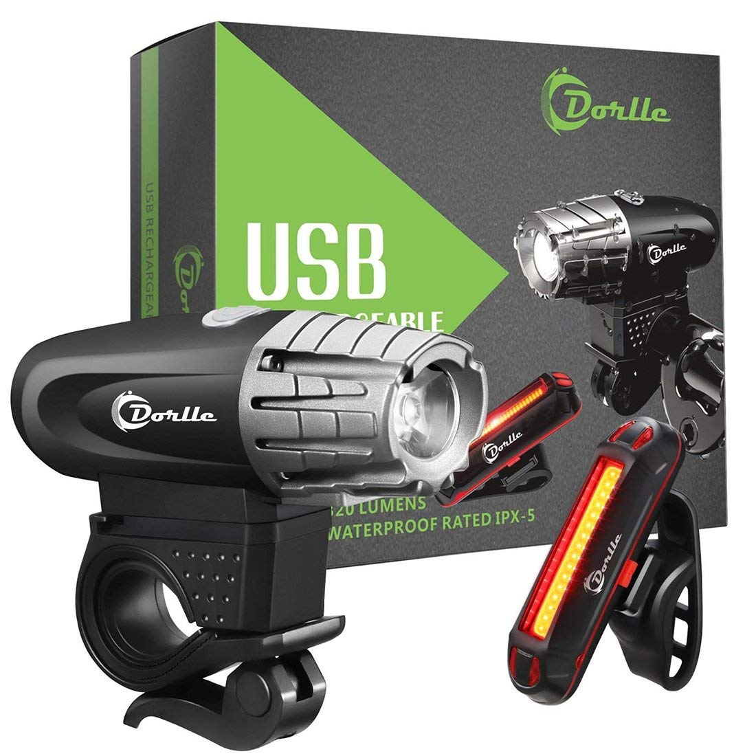 USB Rechargeable Bicycle Lights Set Super Bright Waterproof 400 Lumens Bike Headlight 120 Lumens LED High Brightness Bike Tail Light, Easy Installation for Safe Cycling At Night