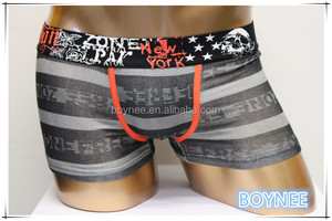 Custom Logo Waistband With Printing Bamboo Fiber Men Boxer Trunk Style