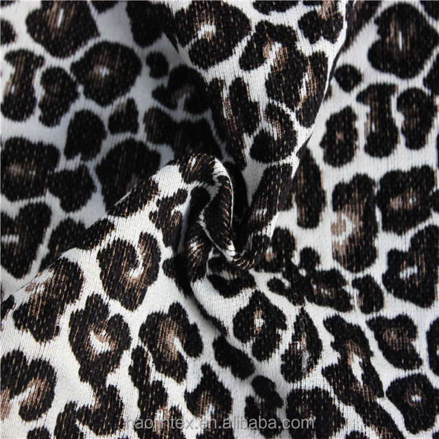 High output colourfast 100%polyester multicolor leopard print jacquard fabric for curtains/ jacquard table cloth/upholstery