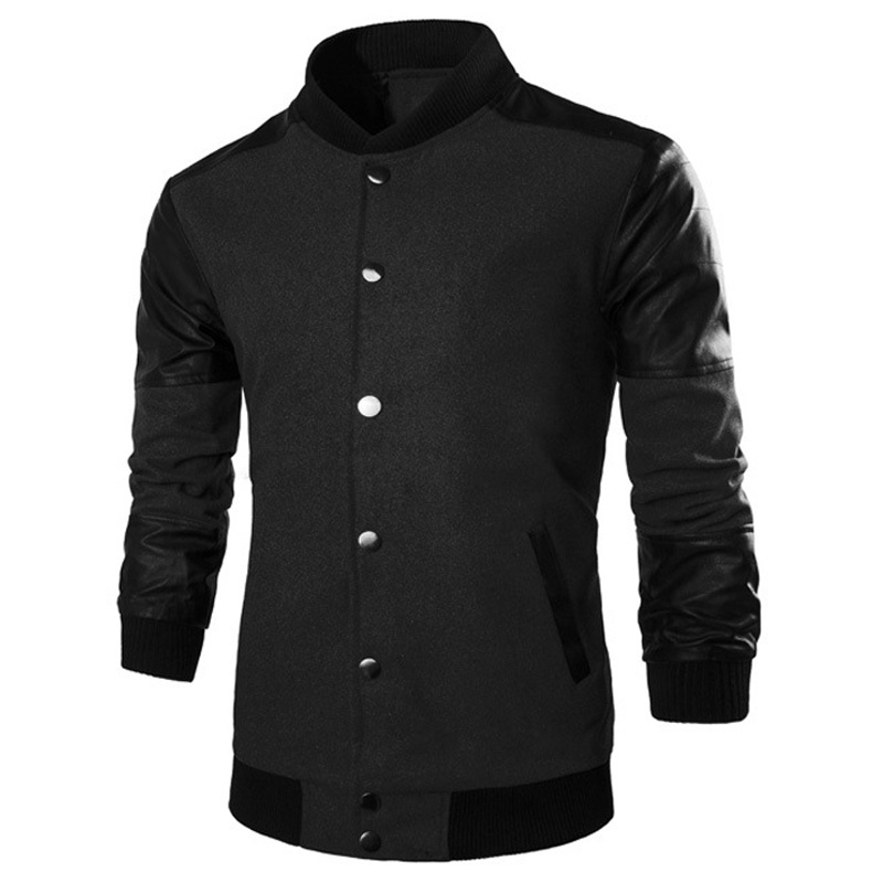 New Wool Blend Jacket Men 2015 Fashion Design Pu Leather Mens Slim Fit Baseball Jacket Casual Brand Stylish Varsity Jacket Homme
