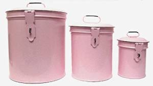 Vintage Style Canister Set Kitchen Storage Canisters E1 Decorative Containers Shabby Chic Pink Enamel