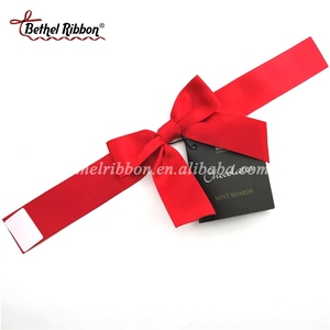 Customized pre-tied satin ribbon fabric bows with adhesive