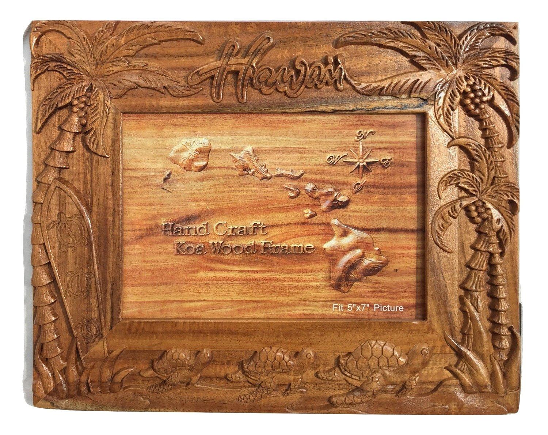 "Koa Wood Handcrafted 5""x7"" Picture Frame, HAWAII Surfboard w/Palm Tree & Turtle Design"