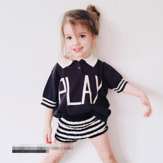B20938A Nieuwe stijlvolle baby zomer T-shirt kinderen Gebreide POLO trui blouse