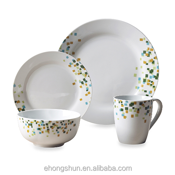 16pcs white ceramic dinner set with popular modern design including blank coffee mugs wholesale