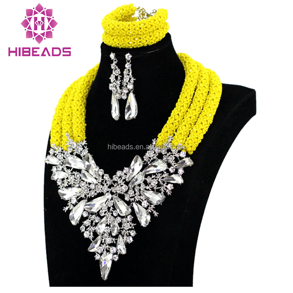 Latest Lilac African Beads Jewelry Set Costume Nigerian Wedding Indian Party Big Crystal Beads Jewelry Set