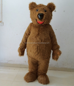 adult furry brown bear mascot costume