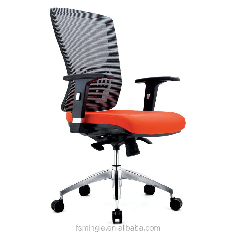 Shunde factory Original design plastic mesh office chair with aluminum base