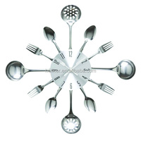 good sale kitchen decorative wall clock with stainless steel spoon and fork