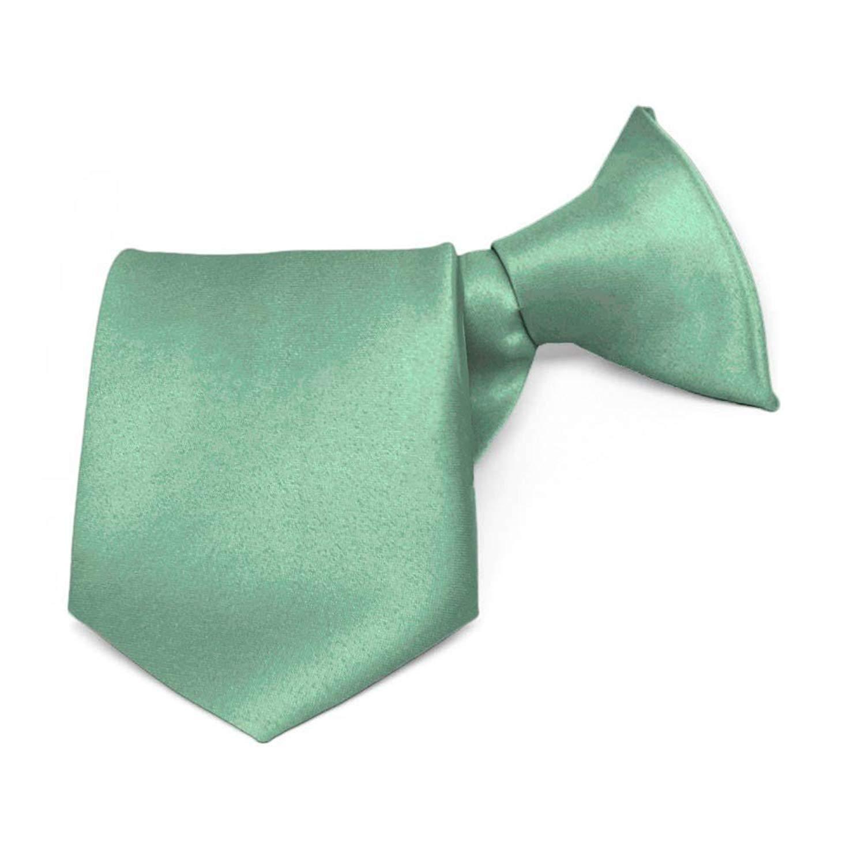 TieMart Boys Key Largo Green Solid Color Clip-On Tie 8 Length