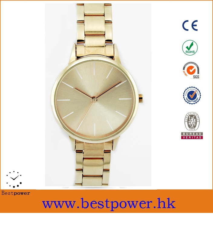 Fashion sunray dial display golden alloy lady wrist watch