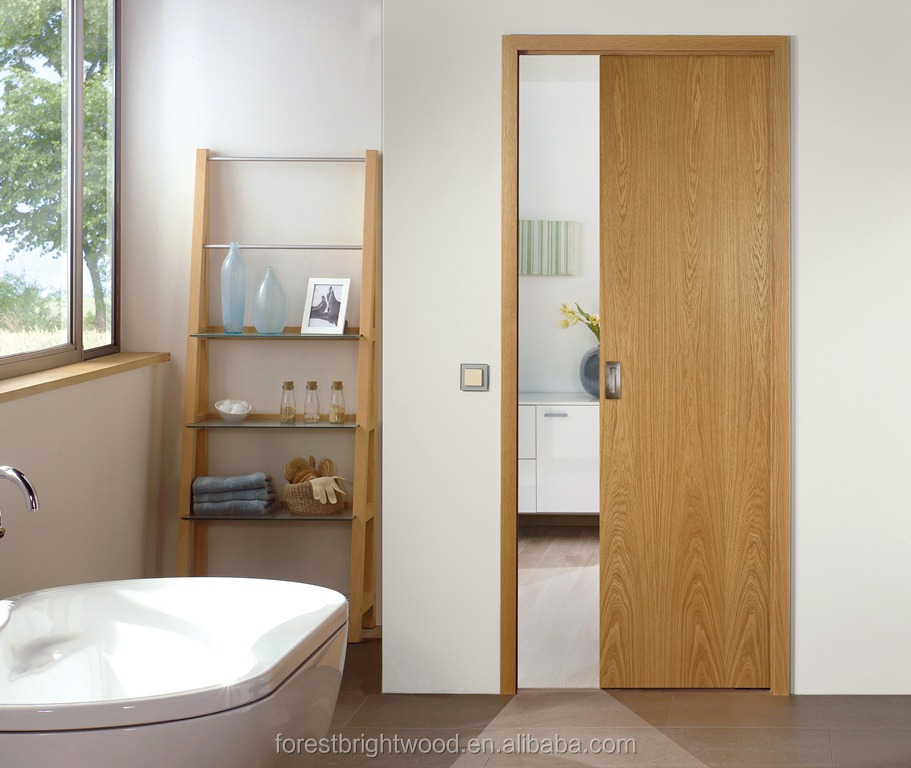Internal Room Veneered Solid Wood Sliding Pocket Door