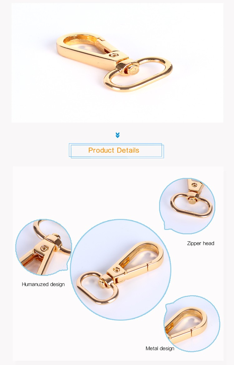 Wholesale Custom Fashion Brass Accessories Hook For Bag Swivel Hook Metal Bag Snap Hook