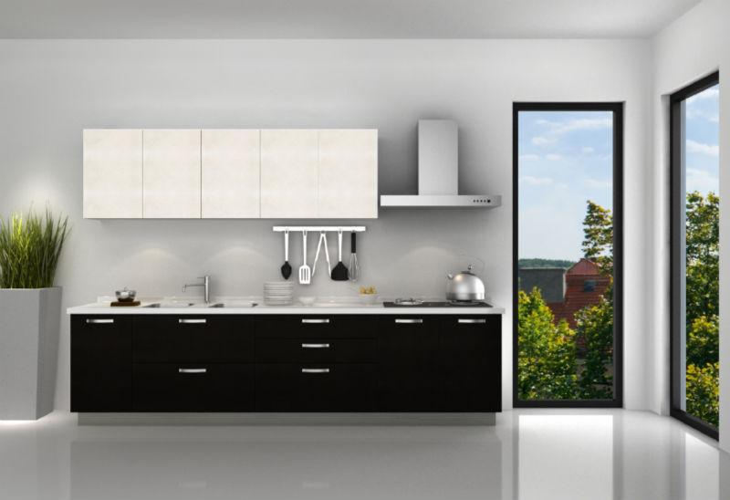 zwarte en witte lak keuken kast van mode keukenmeubilair