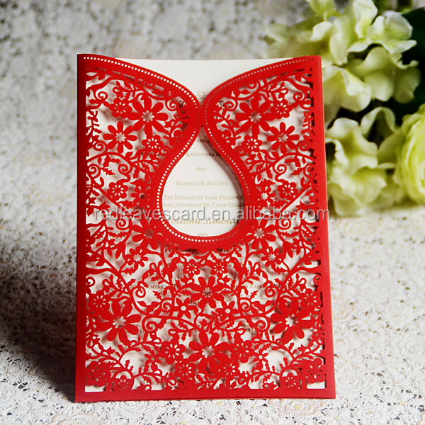 Chinese red craft laser arabicindianmuslimchinese wedding chinese red craft laser arabicindianmuslimchinese wedding invitation card stopboris Image collections