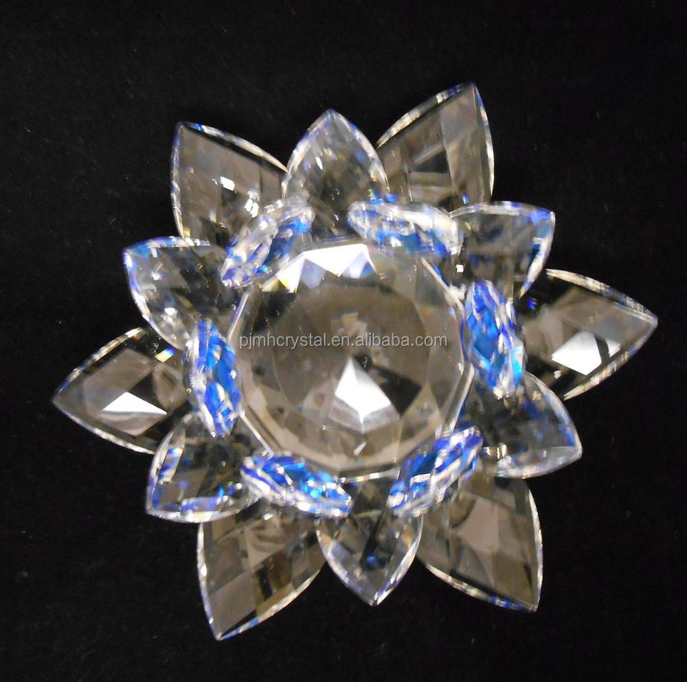 MH-L010 blue color glass crystal lotus flower
