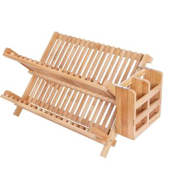 Bamboo Utensils Holder With 2 Tier Foldable Bamboo Dish Rack Drying