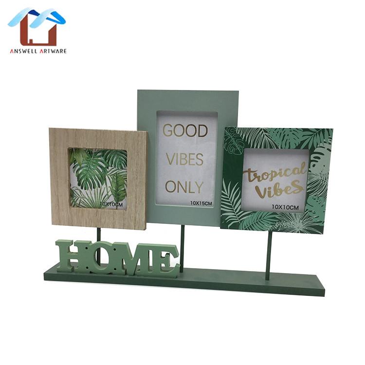Custom home decoratie gift vrijstaande houten custom familie drie foto fotolijst, fotolijst set