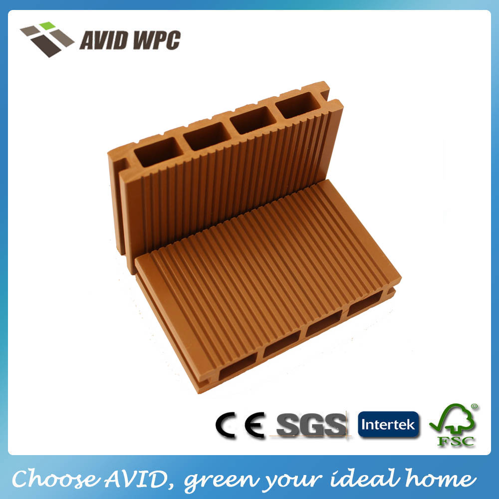 Bamboo plastic composite hollow decking board/ wpc waterproof flooring