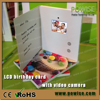 .inch video birthday card with camera/lcd video mailer/ lcd, Birthday card