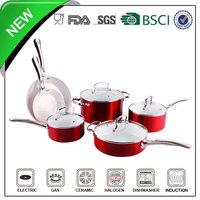 10pcs aluminum metallic coating ceramic cast iron cookware for indian