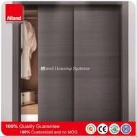 Grey color Double panel wood veneer sliding pocket door for apartment building