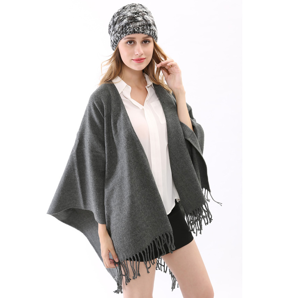 2015 Fashion Fall Winter Ladies Pashmina Wrap With Tassels Soft Warm Large Size Desigual Women Gray Blanket Poncho 150*120cm