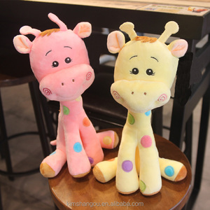 Made in china handmade sewing soft cute baby playing giraffe doll plush toy skin