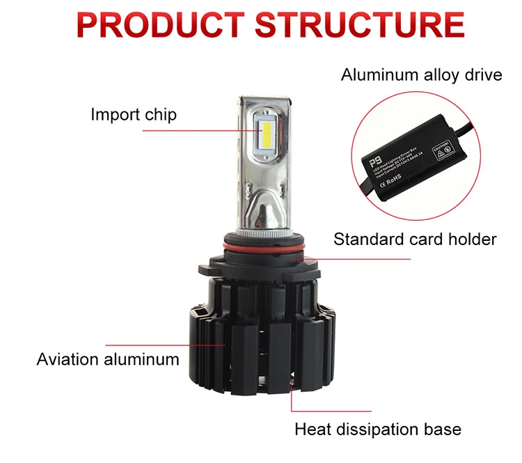 2019 Factory new P9 H4 H7 H11 9005 9006 Flip chip 100W 13600LM led car headlights LED fog light bulb