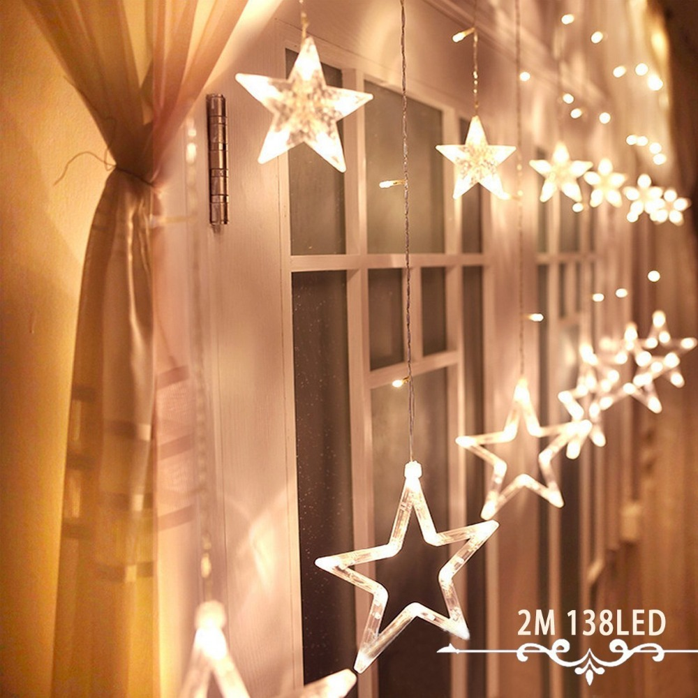 Valentine's Day Battery Operated 138LEDs and 6 Small Stars and 6 Big Stars for Xmas Decoration of Home, Party, Wedding
