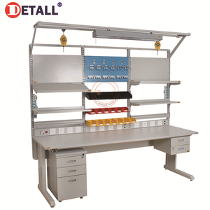 Detall- Esd Assembly Line Working Table Workbench Led Lighting With Drawer Cabinet