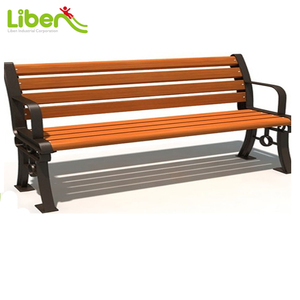 8 Slats Outdoor Public Wooden Bench, Cast Iron Leg Durable Park Garden Bench