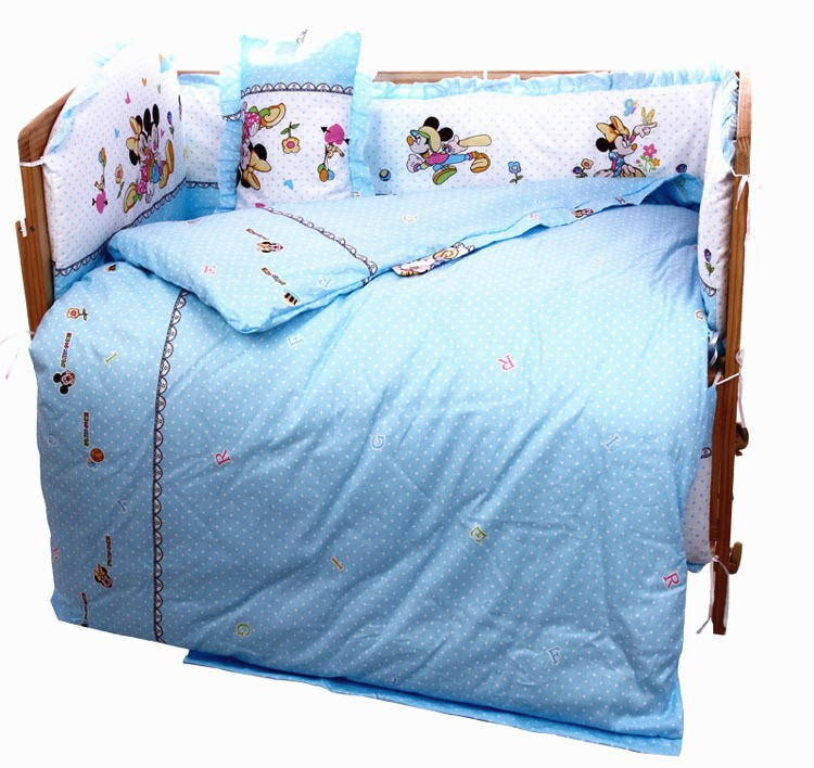Promotion 7pcs Mickey Mouse Baby Bedding Set Health Cotton Bumper Baby Cot Sets Baby Bed Bumper