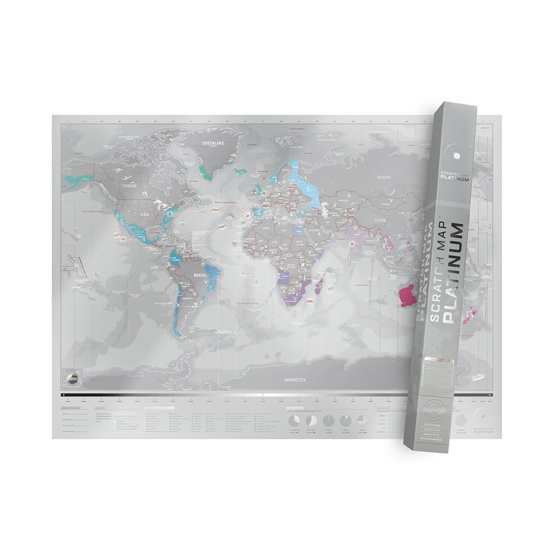 Scratch Off World Map - Deluxe Personalized Travel Map with Details Including States, Cities, Landmarks, Oceans, Islands etc. - Silver Scratch Off Map - Scratchable World Map Wall Decor - Platinum