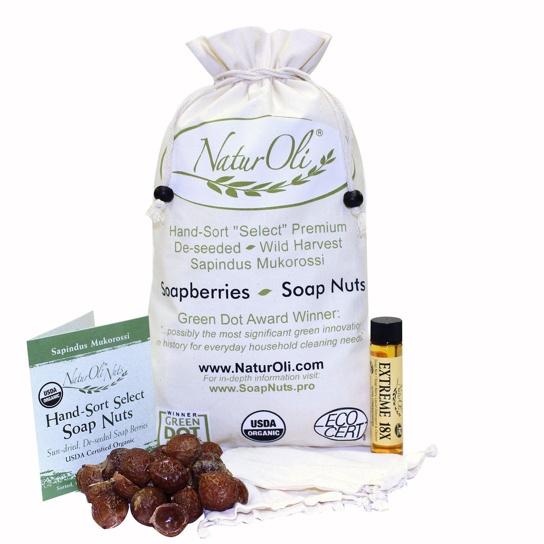 NaturOli Soap Nuts / Soap Berries. 2-Lbs USDA ORGANIC (480 loads) + 18X BONUS! (12 loads) Select Seedless, 2 Wash Bags, Tote Bag, 8-pgs info. Organic Laundry Soap / Natural Cleaner. Processed in USA!