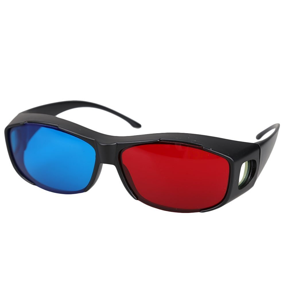3D Glasses - SODIAL(R) 5pairs Red+Blue Plasma TV Movie Dimensional Anaglyph 3D Vision Glasses (Anaglyph Frame), Black